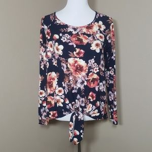 Staccato Tie Front Floral Top Navy Long Sleeve S